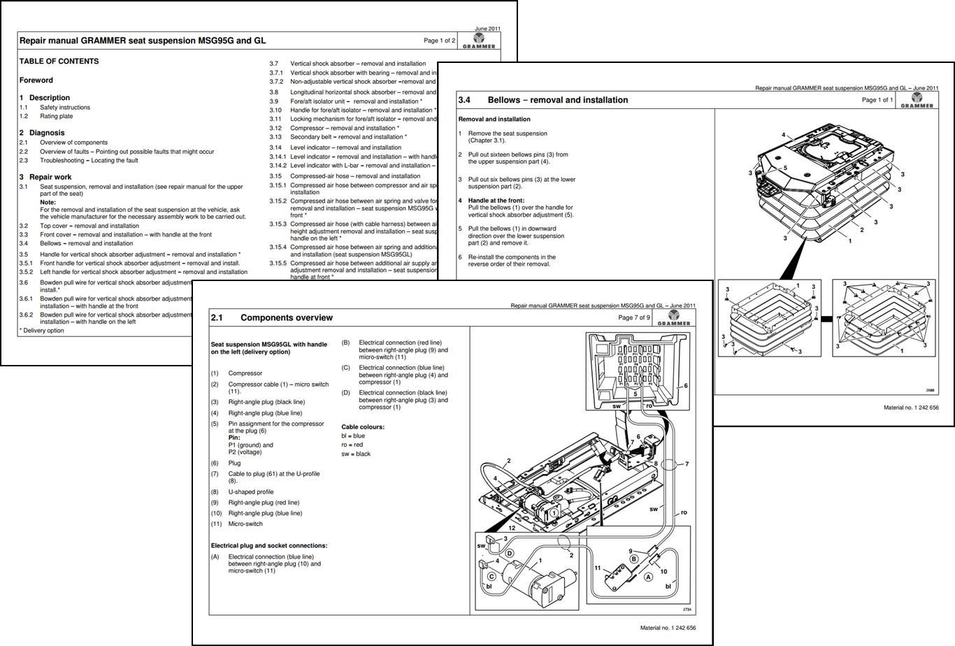 GRAMMER seat repair manuals